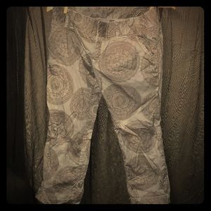 Anthropologie Idra Blue with Brown Paisley Capris